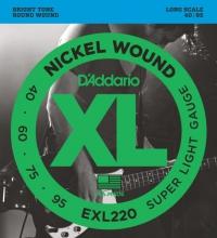 Струны для 4-х струнной бас гитары D'ADDARIO EXL220 Super Light