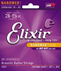 Струны  для акустической гитары ELIXIR 11027 NanoWeb Anti-rust Custom Light