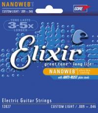 Струны для электрогитары ELIXIR 12027 NanoWeb Anti-Rust Custom Light