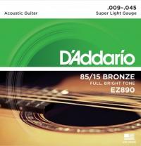 Струны для акустической гитары D'ADDARIO EZ890 Super Light