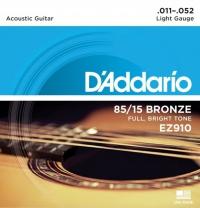 Струны для акустической гитары D'ADDARIO EZ910 Light
